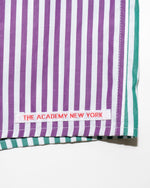 Load image into Gallery viewer, The Academy New York off court green and purple striped boxer shorts. (detail)