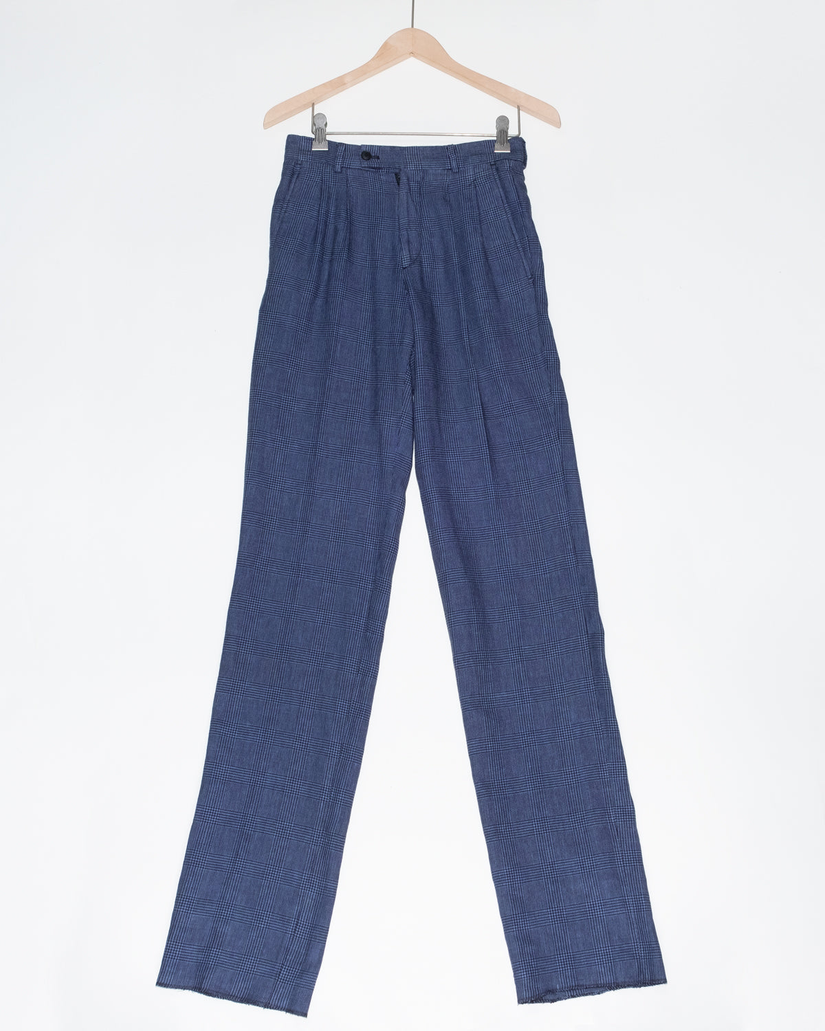 The Academy New York double pleat trouser in overdyed lilac (front).