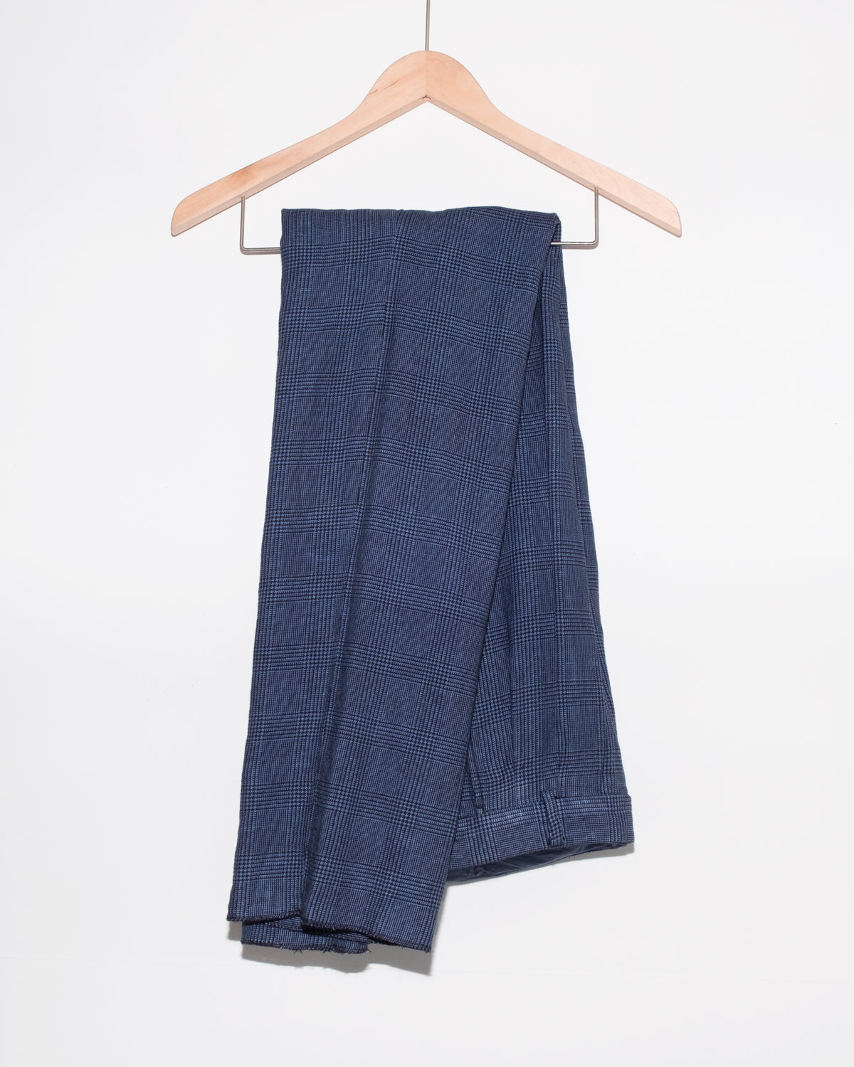 The Academy New York double pleat trouser in overdyed lilac. (folded over hanger)