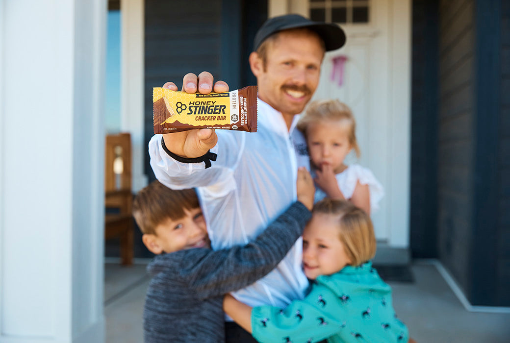Jared's favorite recovery protein option is the Honey Stinger Peanut Butter Dark Chocolate Cracker Bar