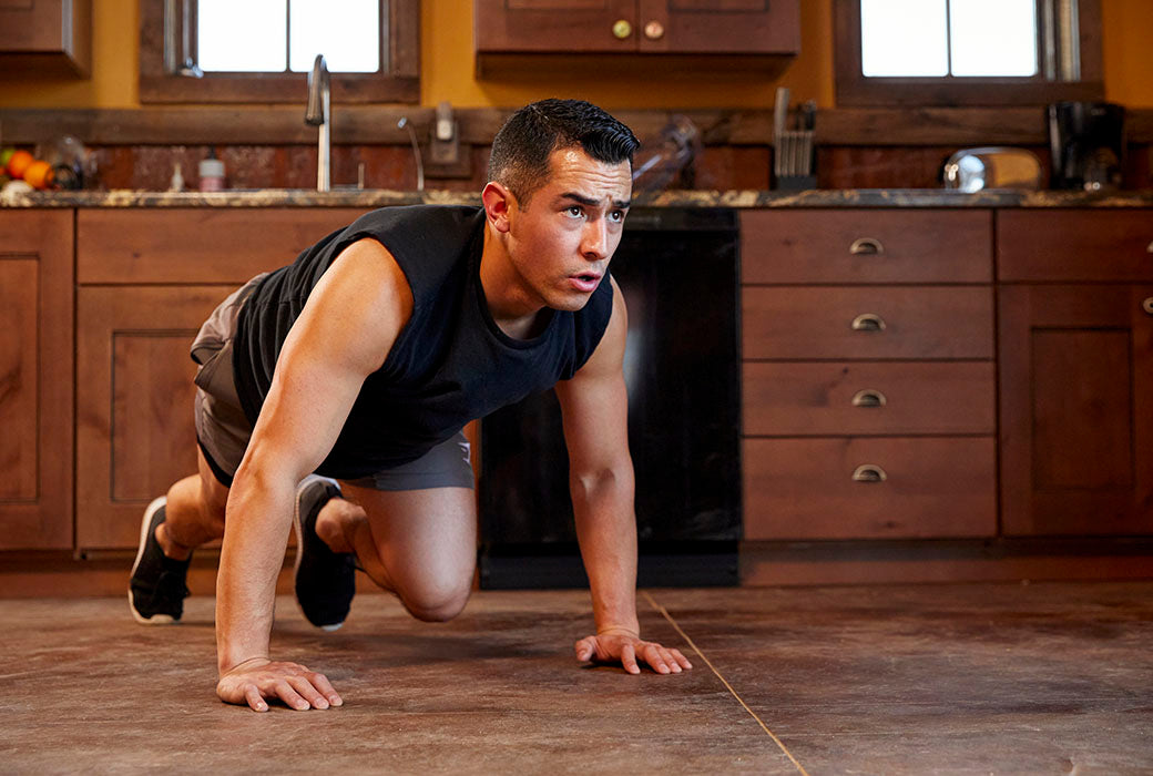 Mountain climbers are great to incorporate into a cardio home workout