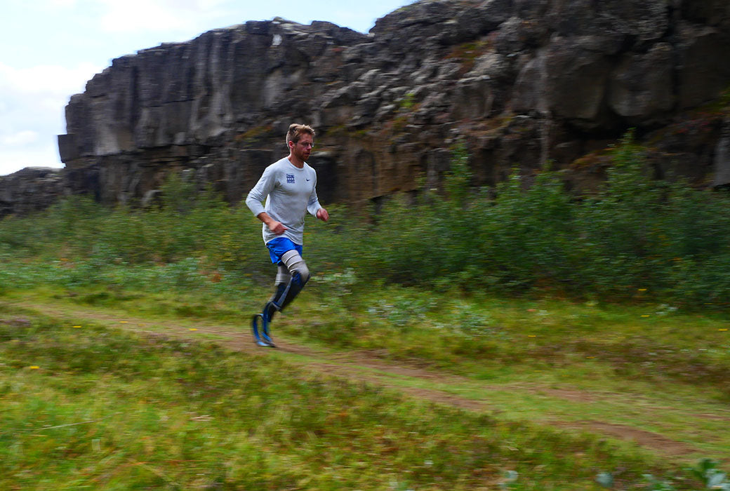Brian Reynolds double amputee runner training