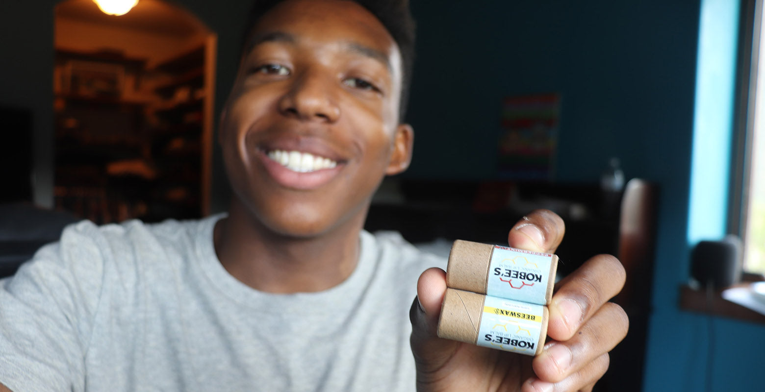 Kobe and 2 of his lip balm flavors