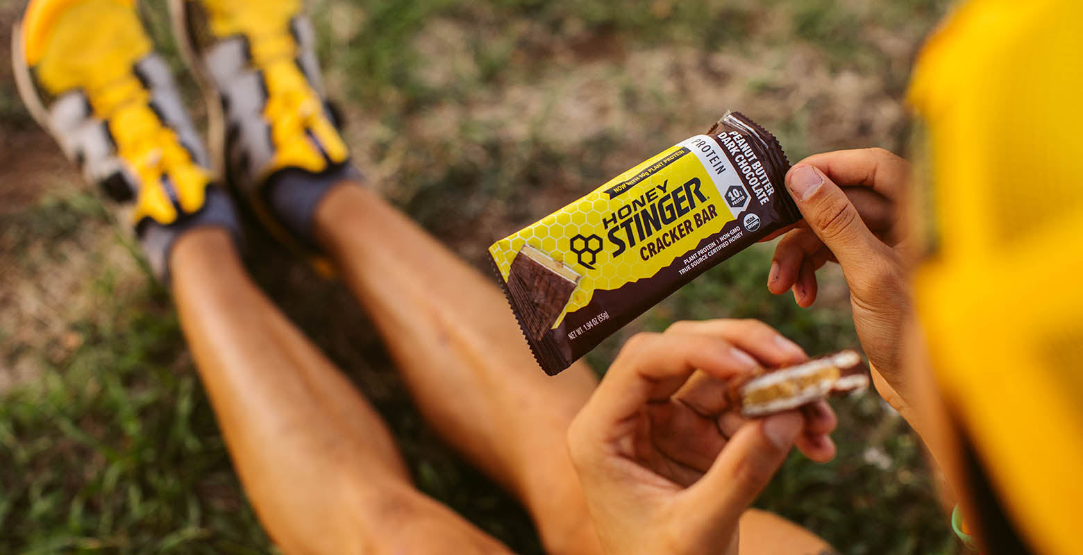 Enjoy 10g of protein in Honey Stinger's Peanut Butter Dark Chocolate Cracker Bars