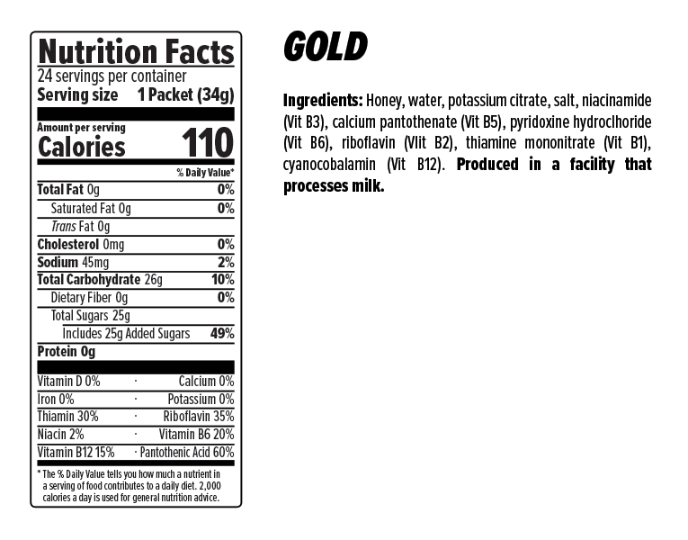 Gold Classic Gel Nutrition Facts