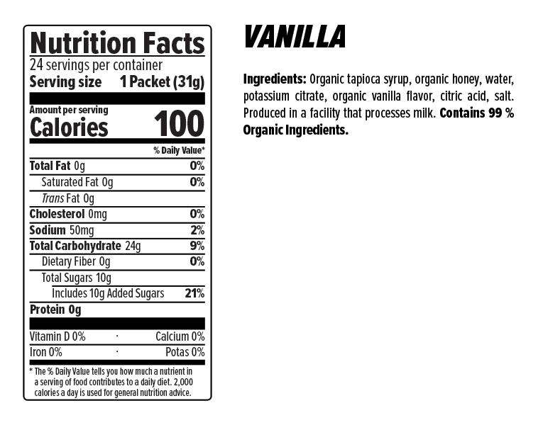Vanilla Gel Nutrition Facts
