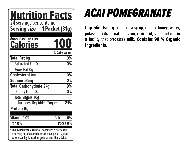 Acai Pomegranate Energy Gel Nutrition Facts