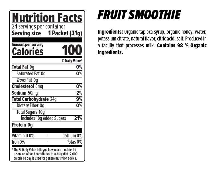 Fruit Smoothie Energy Gel Nutrion Facts