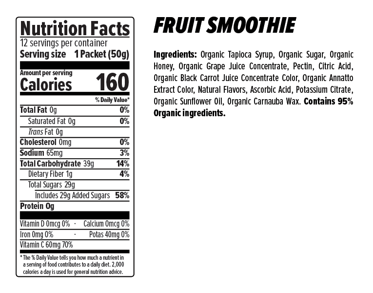 Honey Stinger Fruit Smoothie Energy Chew Nutrition Facts