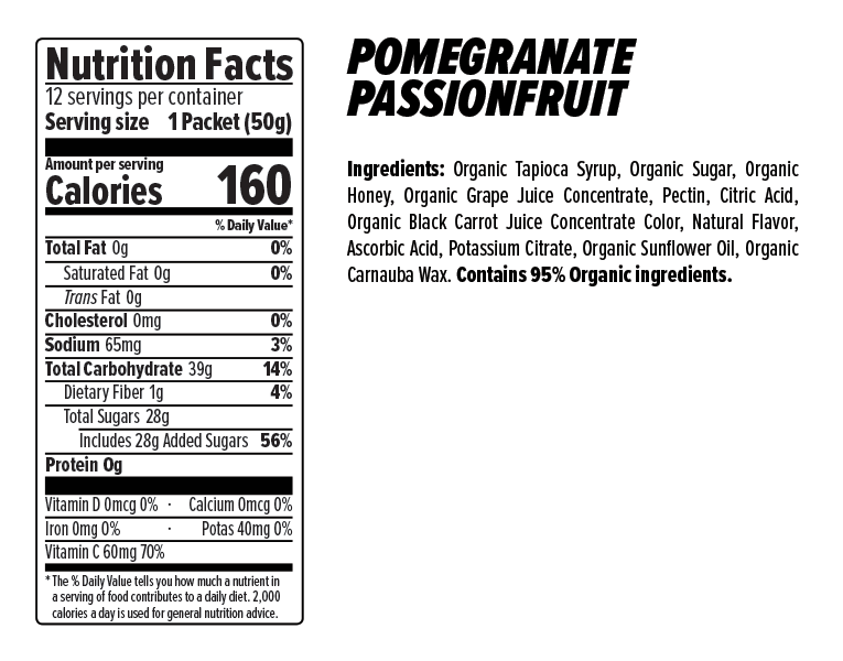 Pomegranate Passionfruit Energy Gels Nutrition Facts