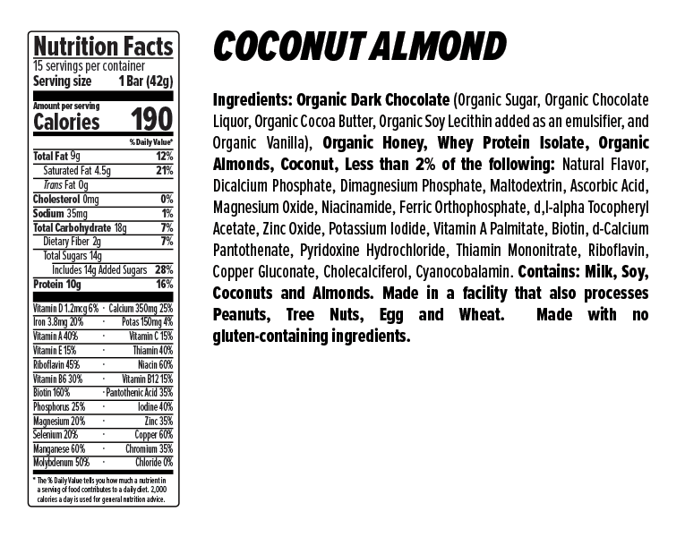 Coconut Almond Protein Bar Nutrition Facts