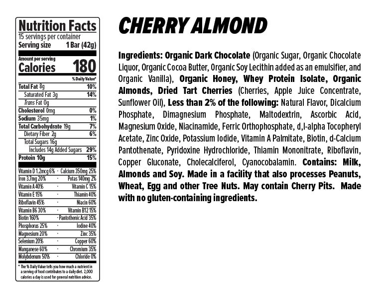 Cherry Almond Protein Bar Nutrition Facts