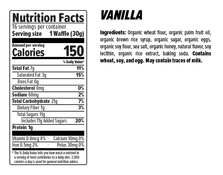 Vanilla Honey Waffle Nutrition Facts