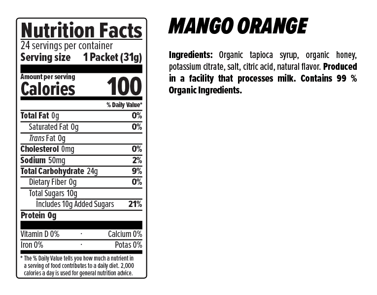 Mango Orange Gel Nutrition Facts