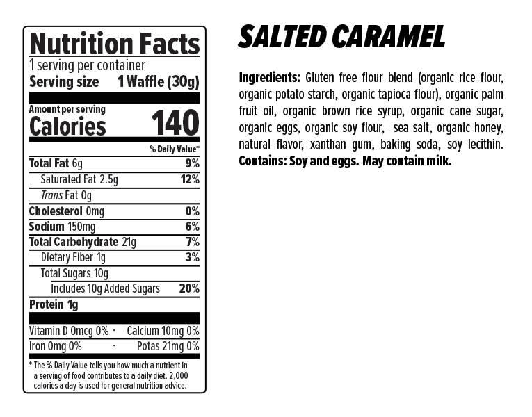 Honey Stinger Salted Caramel Gluten Free Waffles Nutrition Facts
