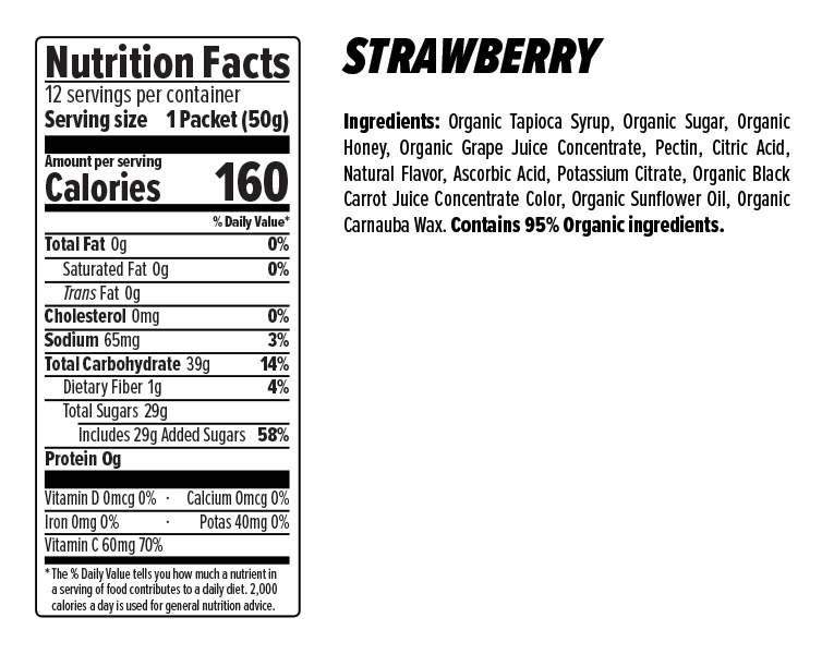 Strawberry Energy Chews Nutrition Facts