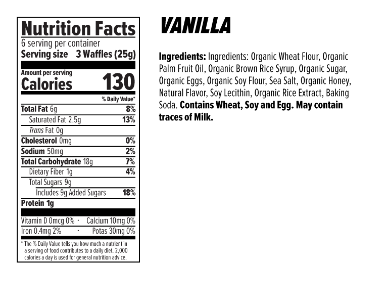Vanilla Honey Mini Waffles Nutrition Facts