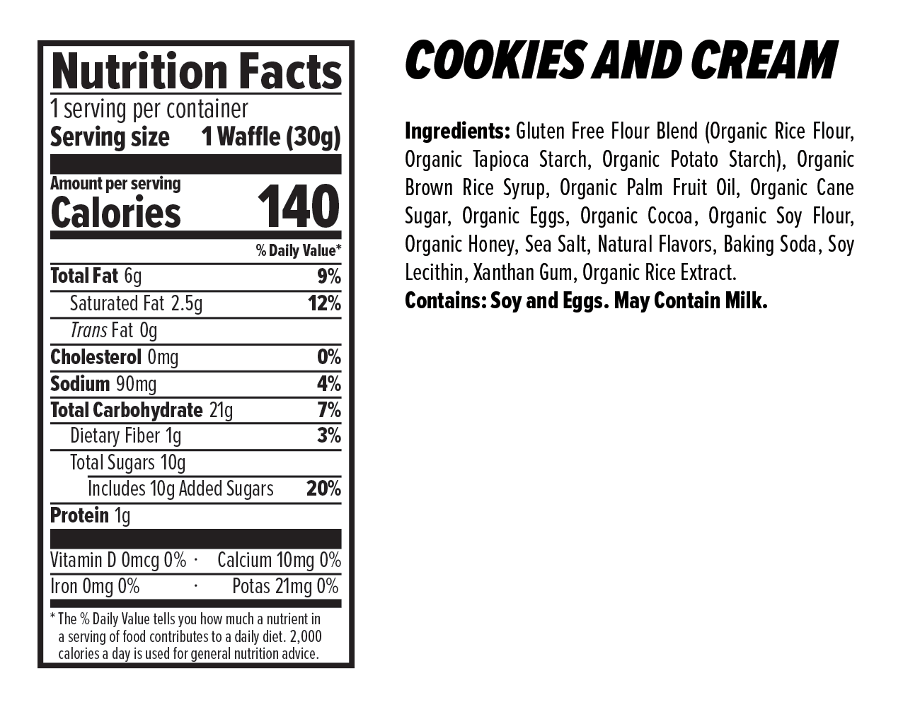 Honey Stinger Cookies and Cream flavored Waffles Nutrion Facts