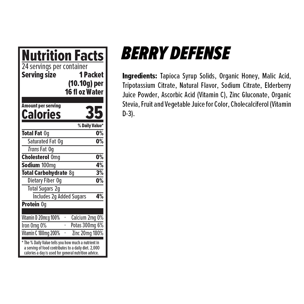 Berry Defense Rapid Hydration Mix Nutrition Facts