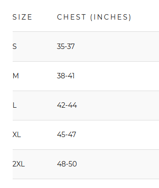 Men's Apparel Size Chart