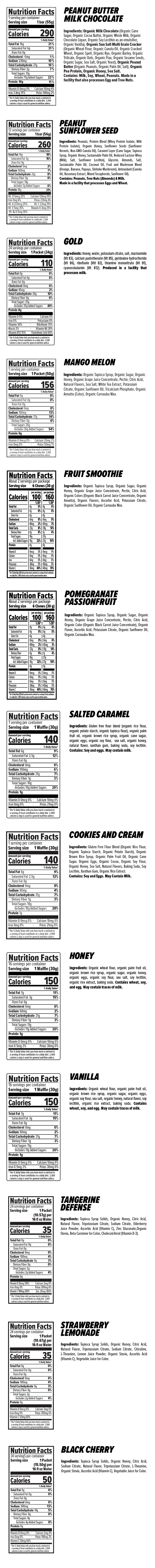 Prepare Perform Recover Variety Nutrition Facts