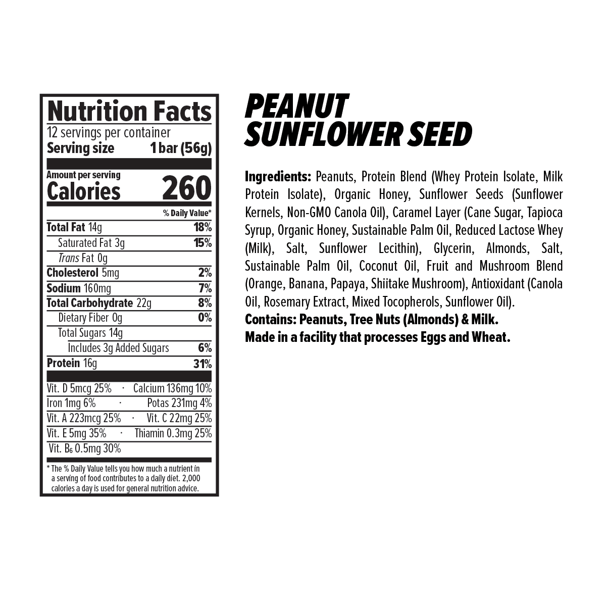Peanut Sunflower Nut and Seed Bar Nutrition Facts