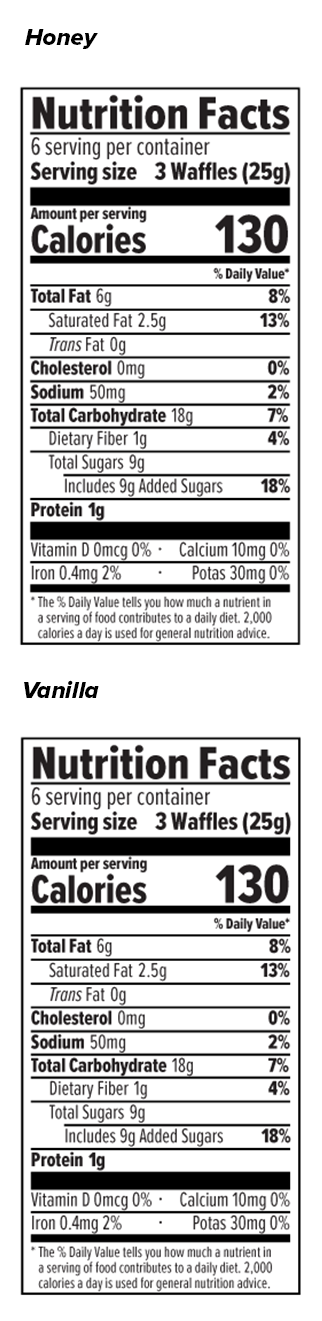 Mini Waffle Sample Pack Nutrition Facts