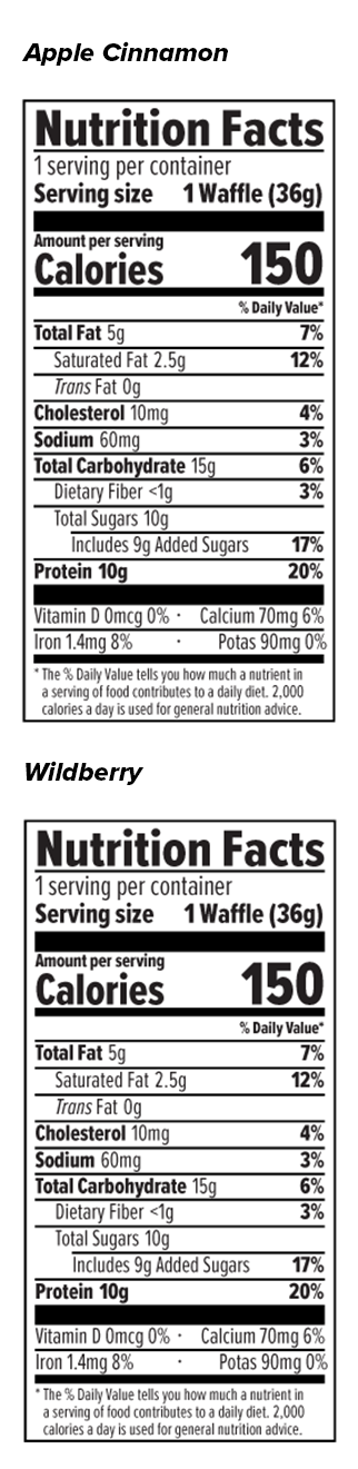 Protein Waffle Variety Packs Nutrition Facts