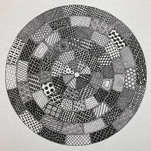 Load image into Gallery viewer, Circular monochrome image inspired by manhole cover designs