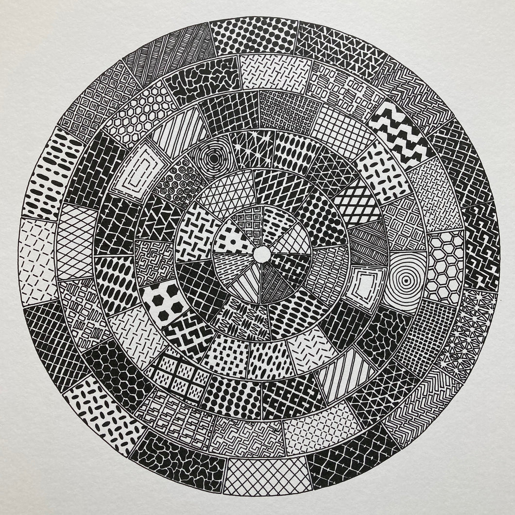 Circular monochrome image inspired by manhole cover designs