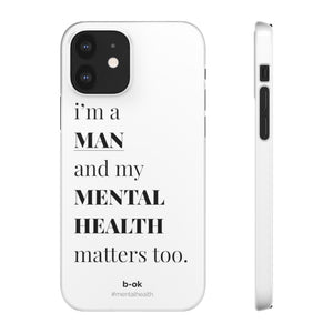 Male Mental Health Awareness White iPhone Snap Case