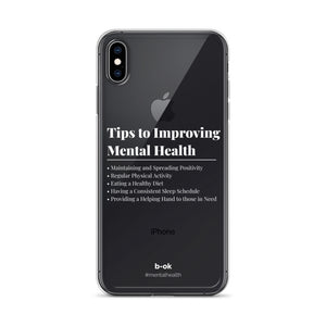 Mental Health Tips (White) - Transparent iPhone Case