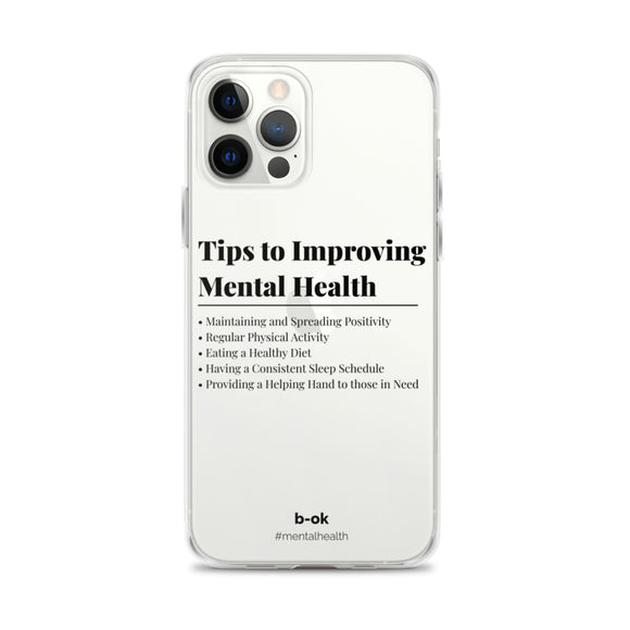 Mental Health Tips (Black) - Transparent iPhone Case