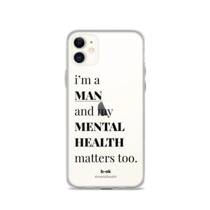Male Mental Health Awareness (Black) - Transparent iPhone Case