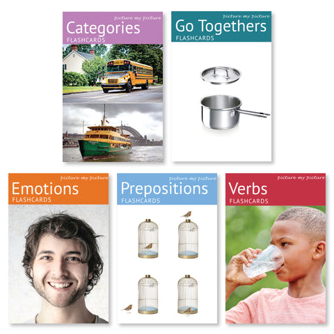 Bundle of Five: Feelings and Emotions, Prepositions, Verbs, Go Togethers and Categories Flashcard Pack
