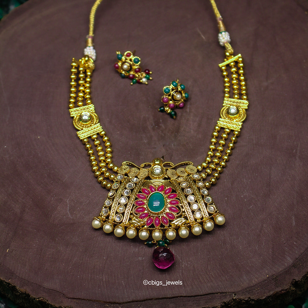 Antique Multicolor Layered Necklace