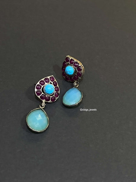 92.5 Silver Earrings with Turquoise