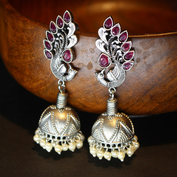 Oxidized Silver Earrings with Peacock Motif.