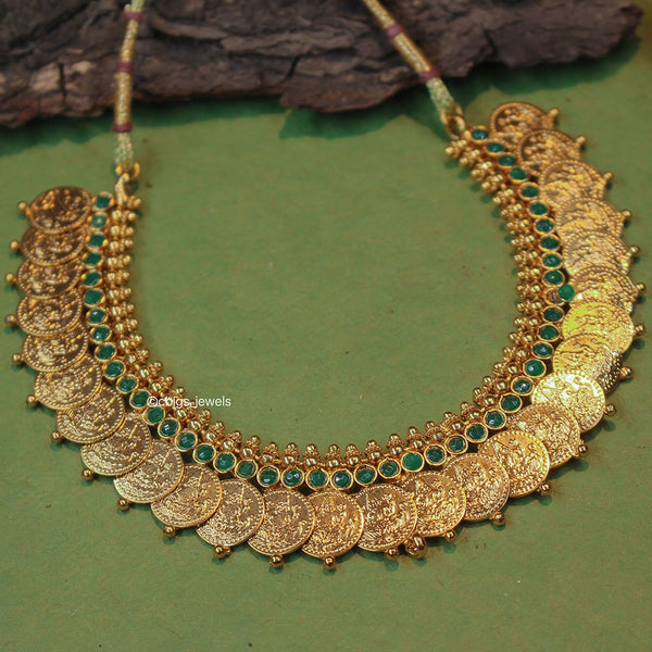 Antique Kasu Necklace with Emerald Stones
