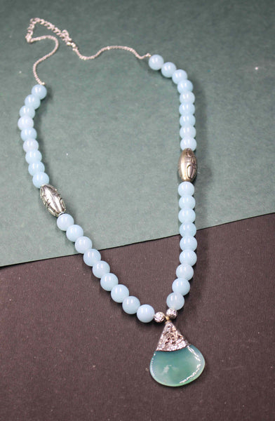 Blue Agate Beads necklace with Silver Pendant