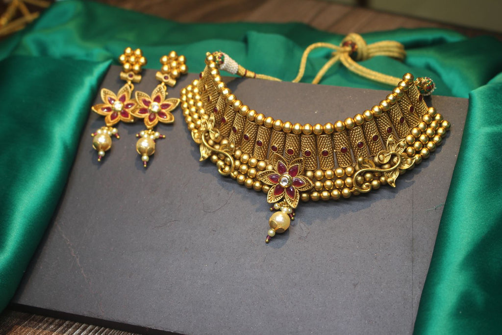 Antique Gold Finish Bridal Choker with Ruby Stones