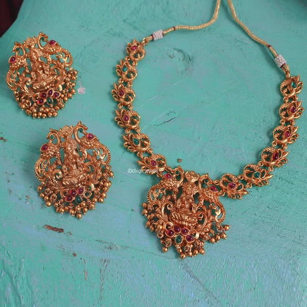 Elegant Antique Necklace with Goddess Lakshmi Motif