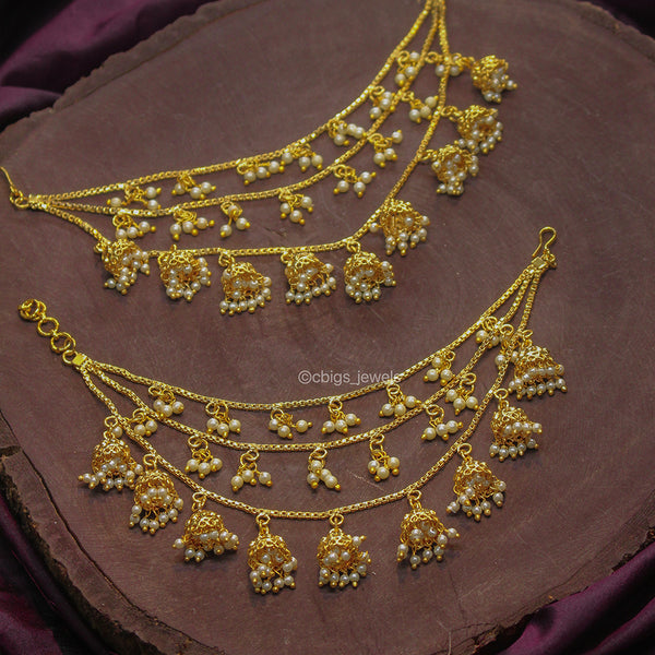 Antique Gold Finish Maati with Pearls