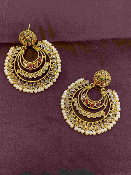 Polki Stone Earrings with Pearls