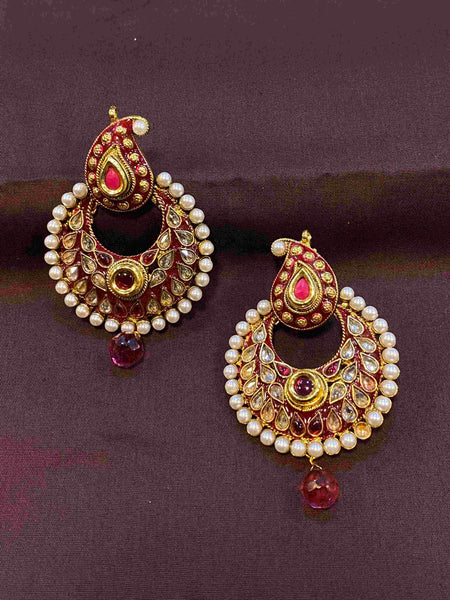 Antique Polki Enamel Earrings