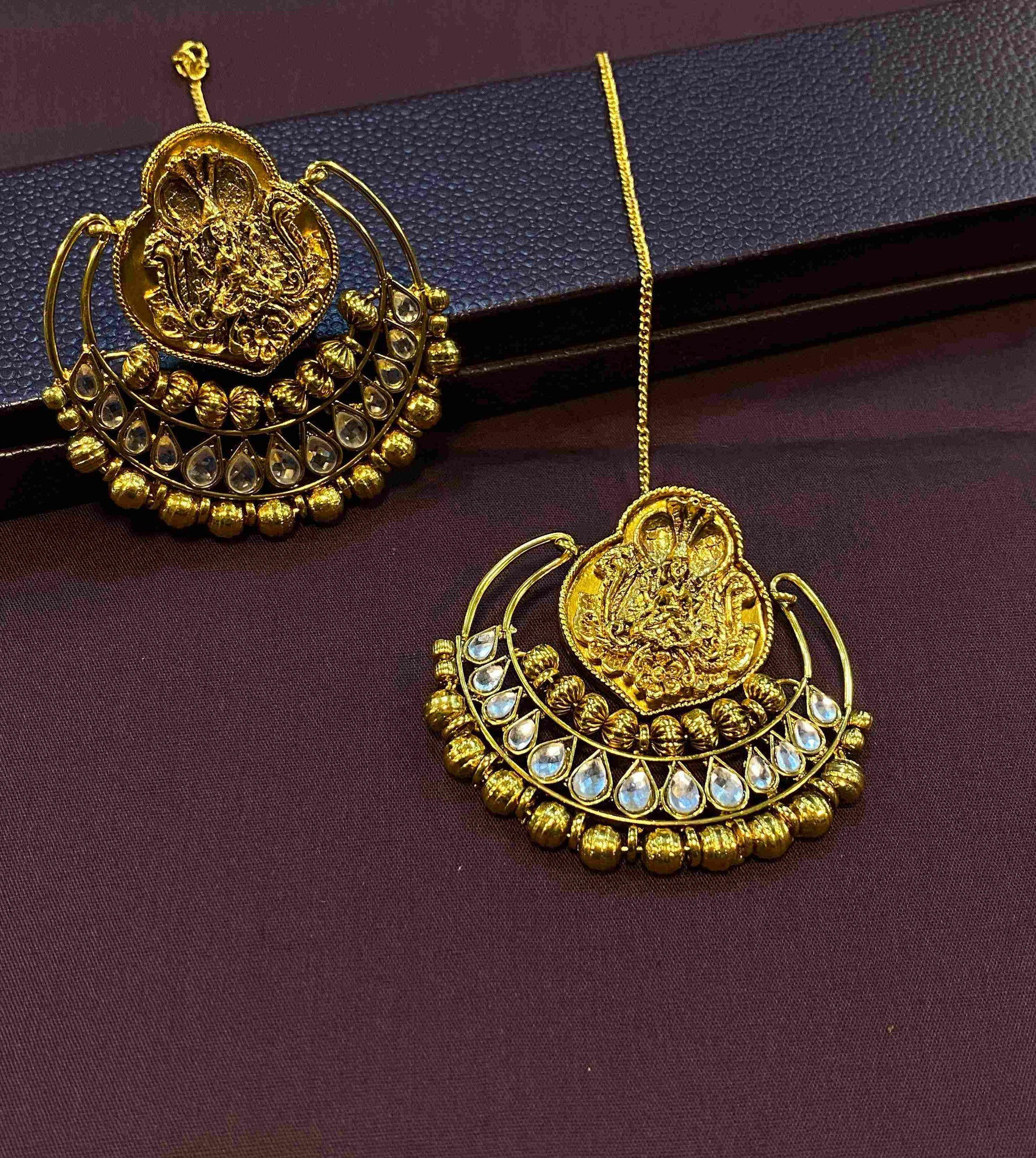 Antique Nakshi Earrings with Polki Stones