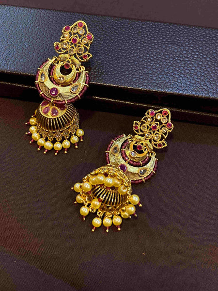 Elegant Polki Earrings with Ruby Crystals