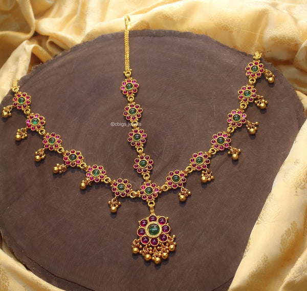 Elegant Damini HeadSet With Multicolor Kemp Stones.