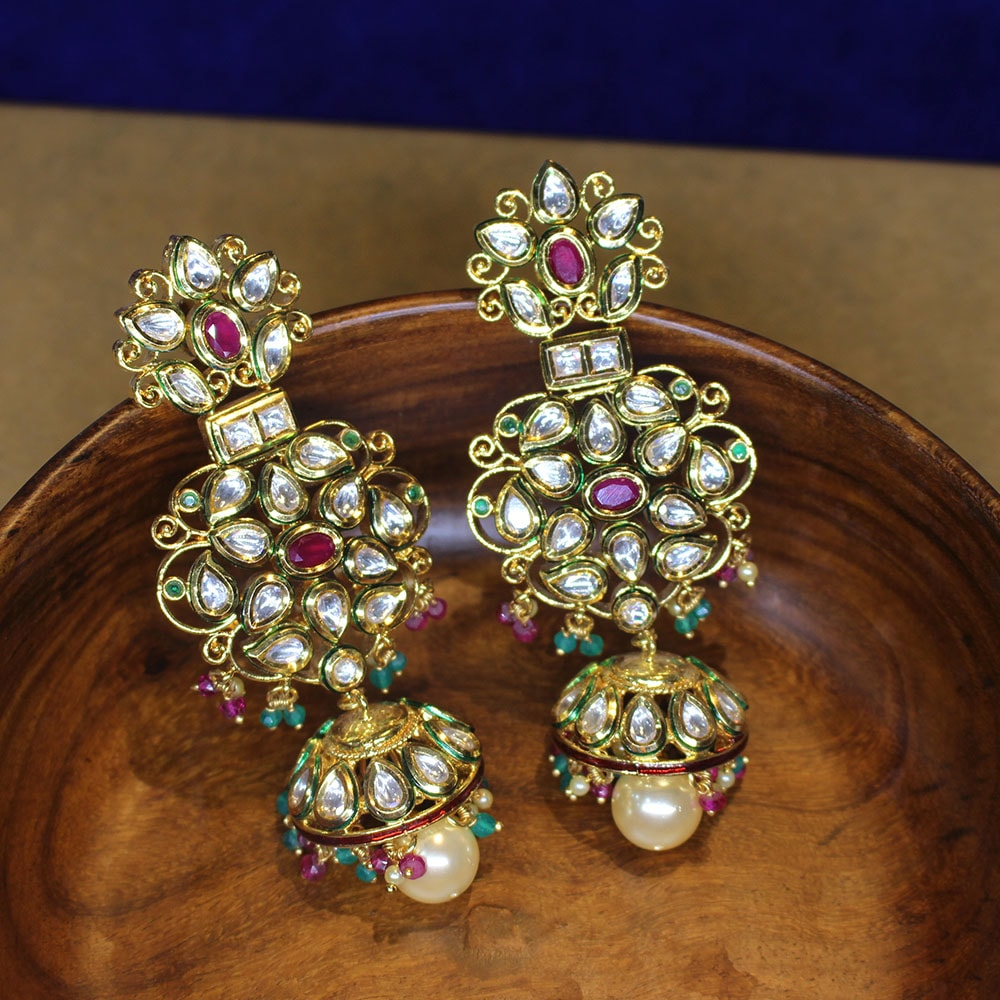 Exceptional Designer Minakari Kundan Earrings