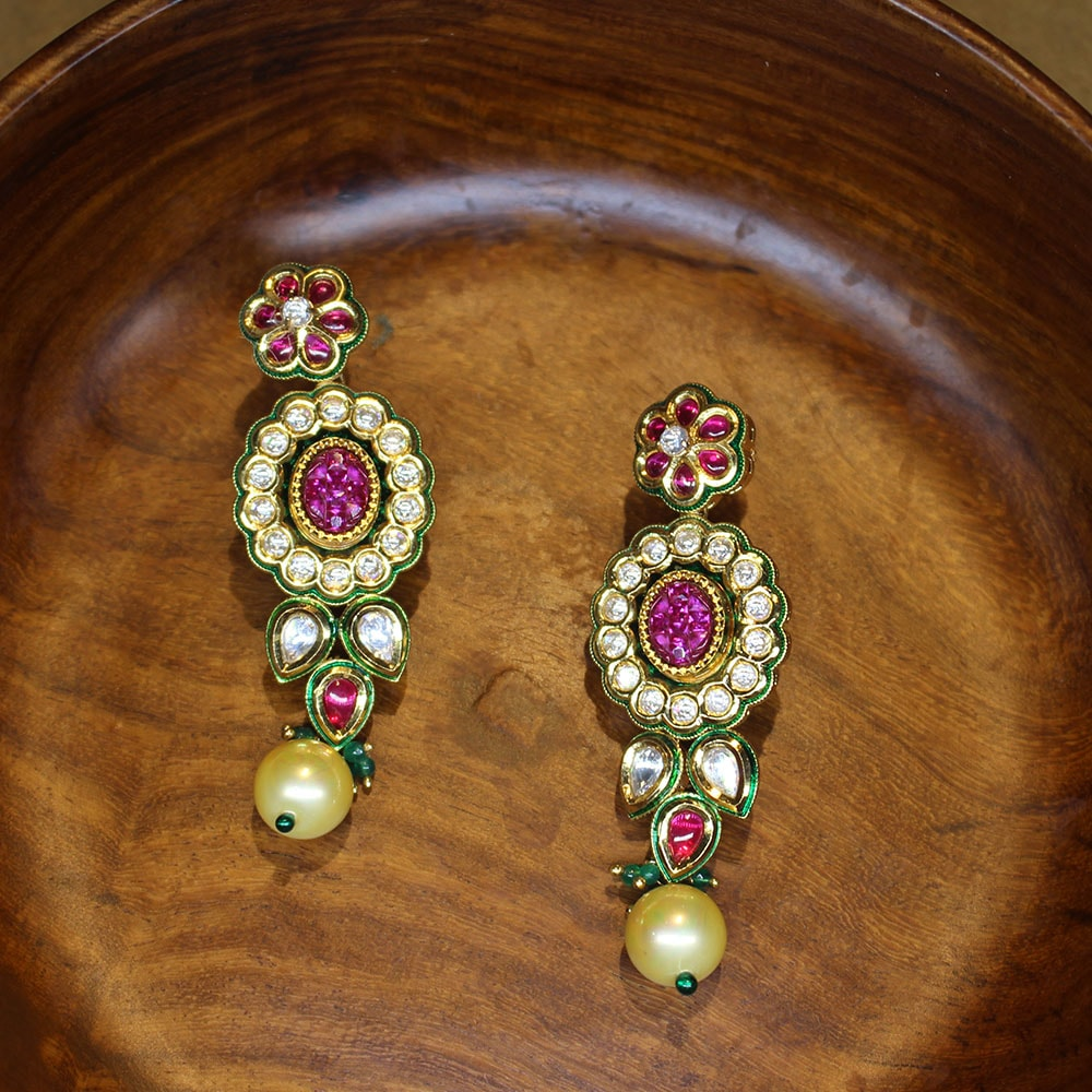 Exquisite Kundan Earrings with Precious Ruby Stones